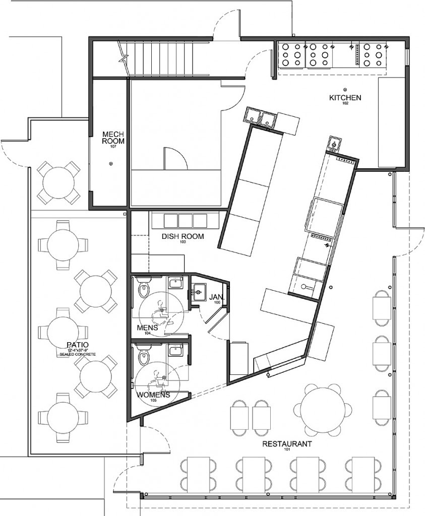 Kitchen: Stunning Modern Style Floor Plan Commercial Kitchen