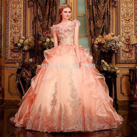 luxury rhinestone beading light pink ruffle Medieval dress
