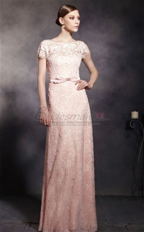 Pearl Pink Lace Illusion Sweetheart Neck Long Sheath