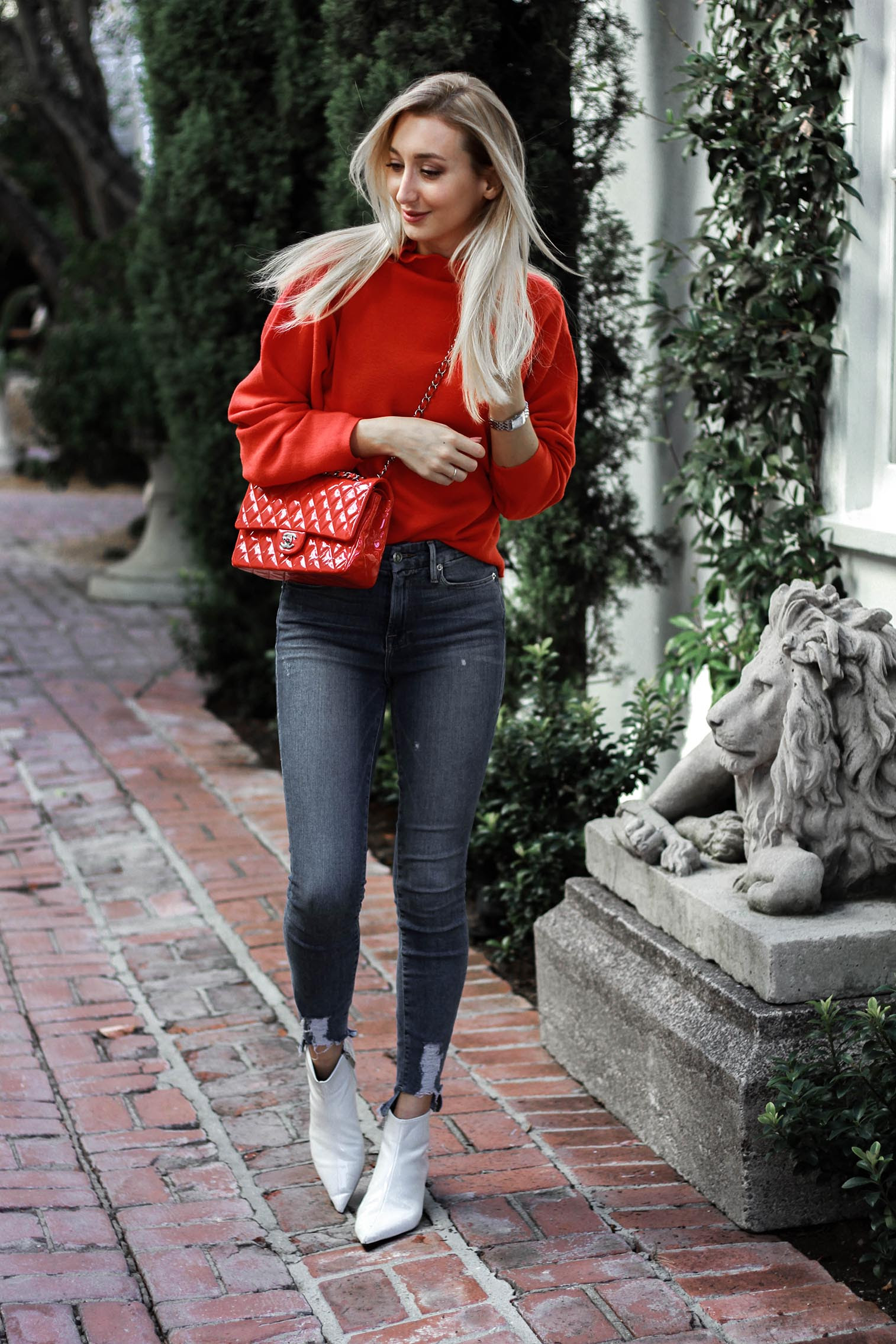 red sweater outfit and tea at alfred's tea room  chiara