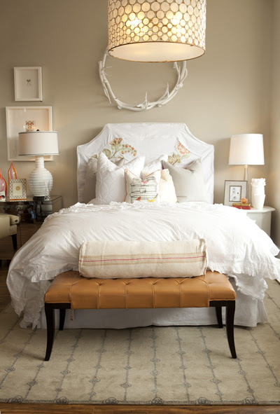 White Slipcovered Headboard, Contemporary, bedroom, Alice Lane Home