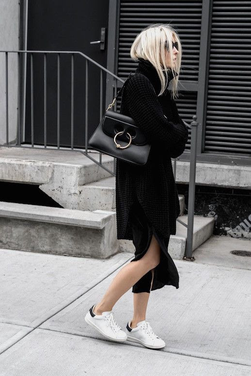 Le Fashion Blog Black Roll Neck Sweater Luxury Bag Side Slit Midi Skirt White Sneakers Via Figtny
