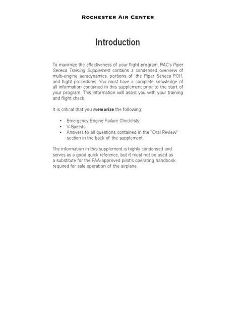 Information from Seneca II Manual & Multi Engine Oral Prep