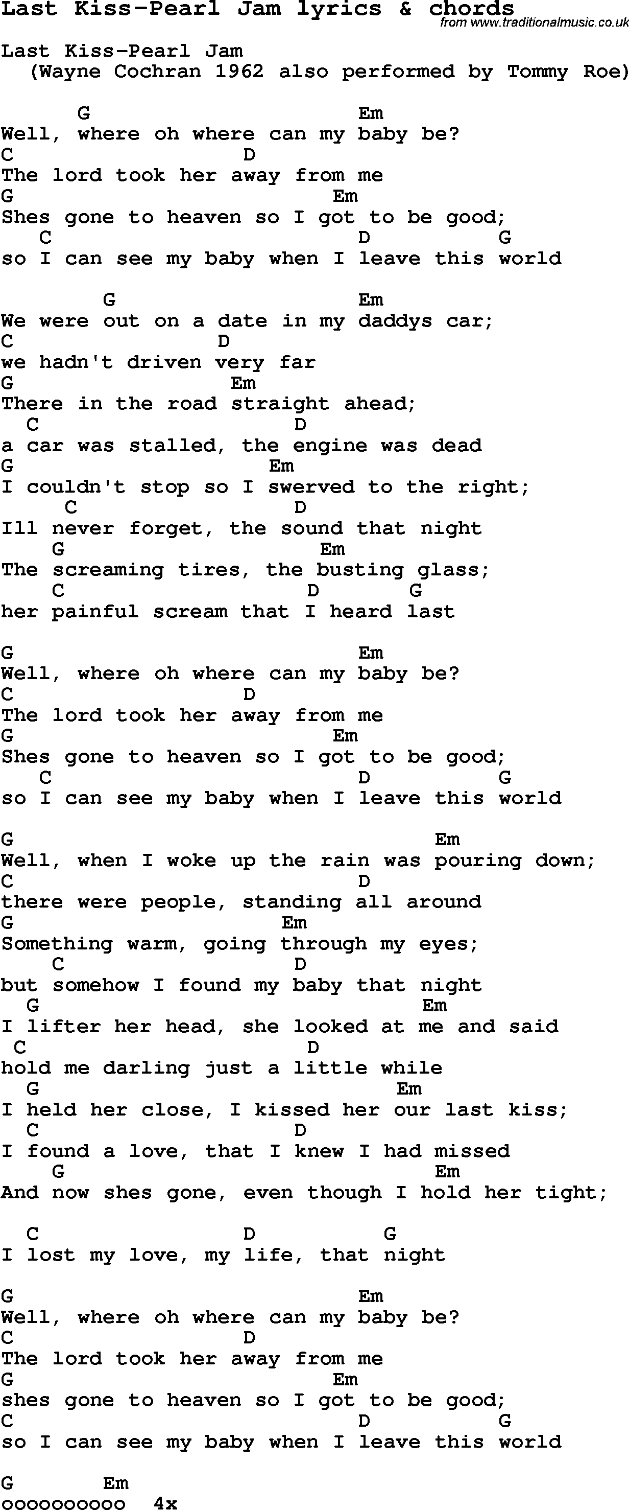 Love Song Lyrics For Last Kiss Pearl Jam With Chords