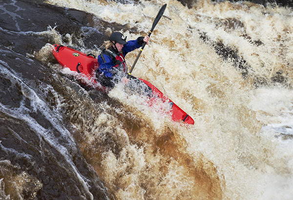 05D-8278 Canoeist Tackling Low Force Waterfall in High Flow Conditions River Tees Bowlees Upper Teesdale County Durham UK