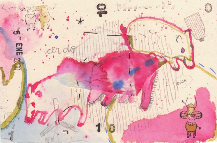 Pink Pigs small print collage