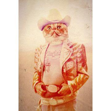 Cowboy Cat print. John Keddie.