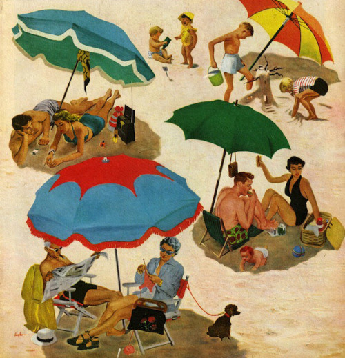 Under Umbrellas, art by George Hughes.  Detail from Saturday Evening Post cover August 2, 1952.