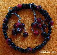 Memory Wire Bracelets and Earrings with various beads