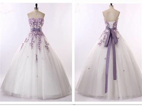 White and purple Wedding Dresses Bridal Gowns Size 6 8 10