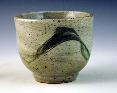stoneware teabowl with brushwork