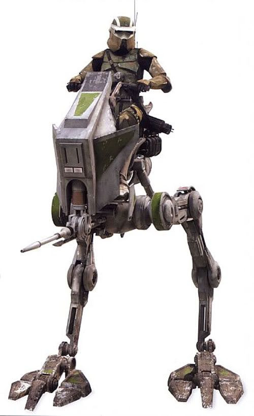 A clonetrooper scout on an AT-RT walker.