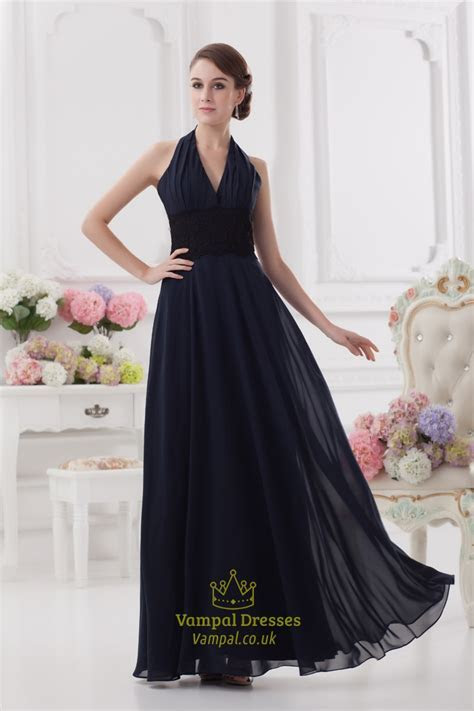 Navy Blue Chiffon Backless Evening Ball Prom Gown   Vampal