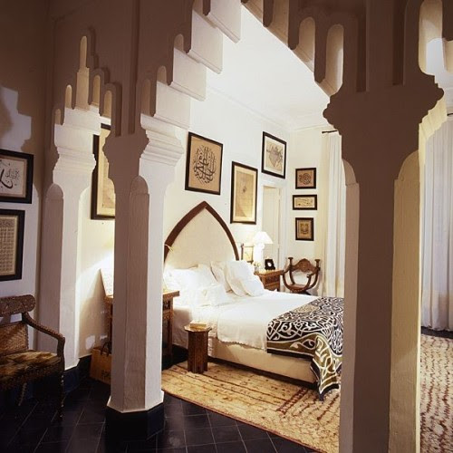 A bedroom in Tunisia features Arabian-