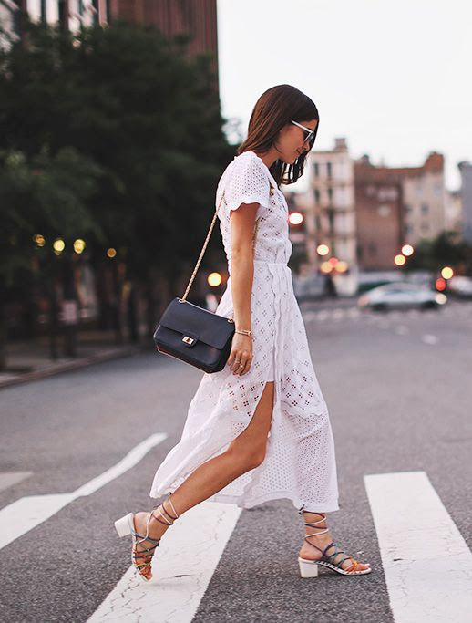 Le Fashion Blog Summer Dress White Maxi Eyelet Dress Chloe Sandals Cross Body Bag Via Blank Itinerary