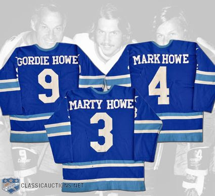 Houston Aeros 1973-74 Howe Family jerseys photo Houston Aeros 1973-74 Howe Family jerseys.jpg