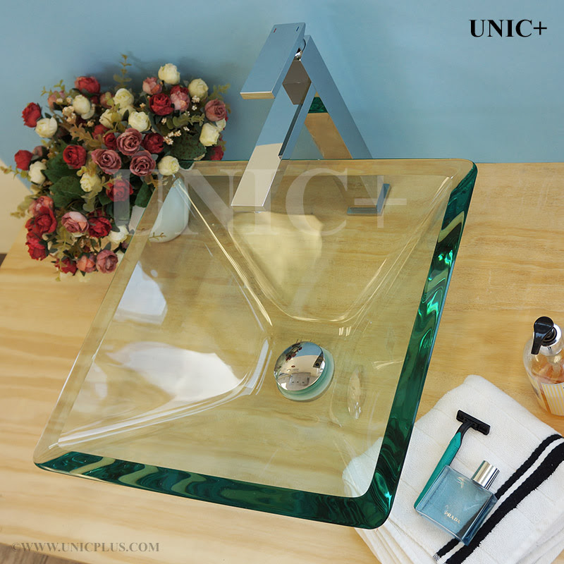 Square Shape Clear Tempered Glass Bathroom Vessel Sink Bvg007 In