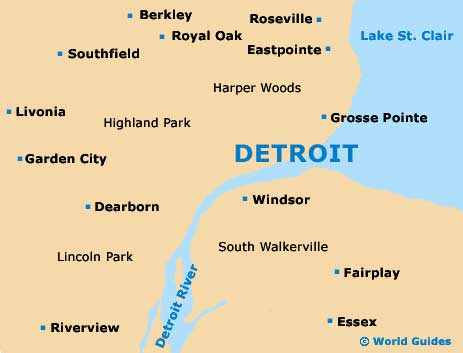 Download Map Usa Detroit Major Tourist Attractions Maps Map