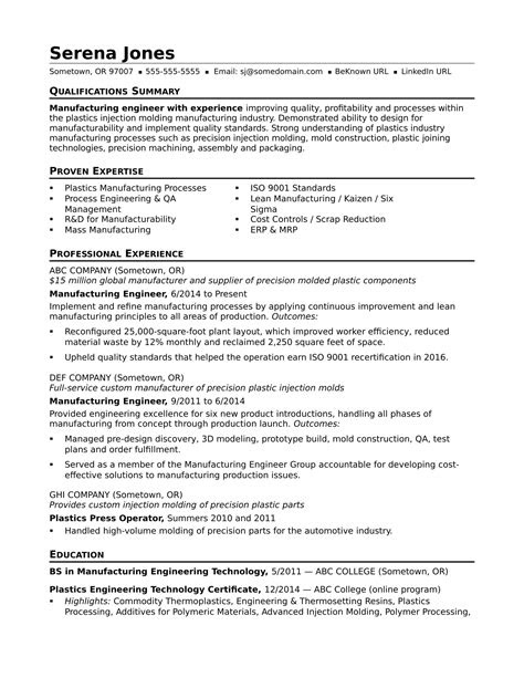 Sample Resume for a Midlevel Manufacturing Engineer
