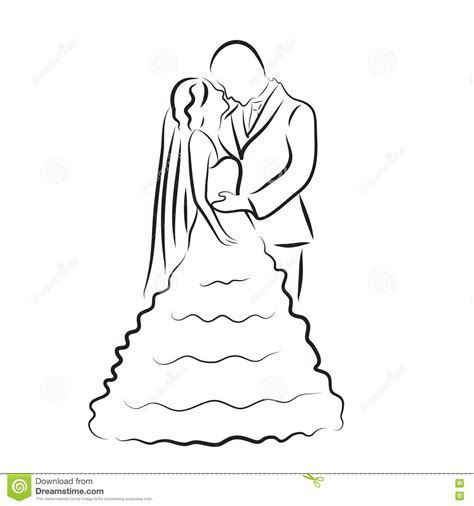 Silhouette Of Bride And Groom, Newlyweds Sketch, Hand