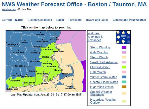 National Weather Service BOSTON forecast map