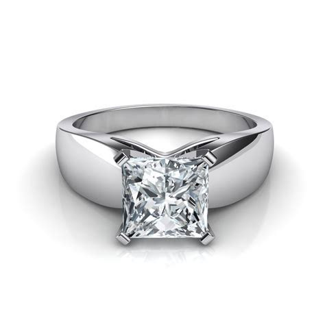 Wide Band Princess Cut Diamond Engagement Ring