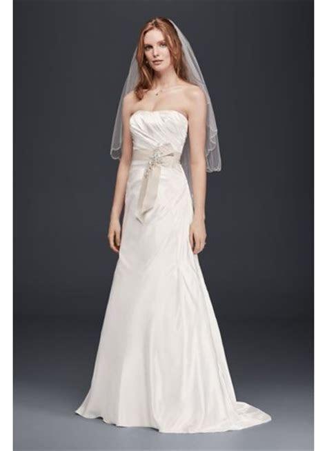 Charmeuse A Line Strapless Wedding Dress   Davids Bridal