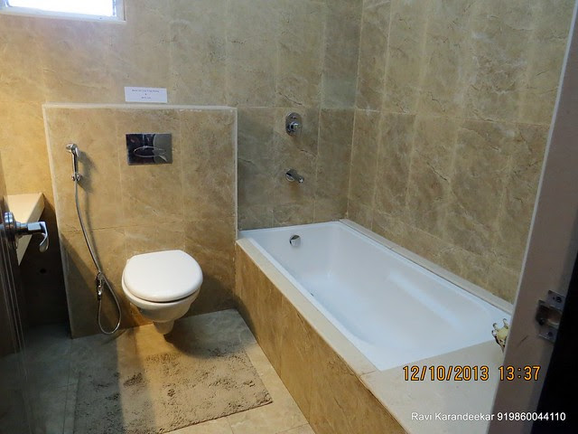 "Bath tub in 8' x 6' 6"" Toilet of 12' x 15' 6"" Master Bedroom - Did you visit the 4 BHK show flat of Metro Jazz, opposite VITS Hotel,  Mhalunge - Baner Annex?"