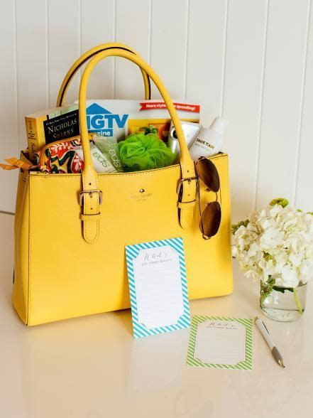 Fill a purse or tote bag with items that the bride might