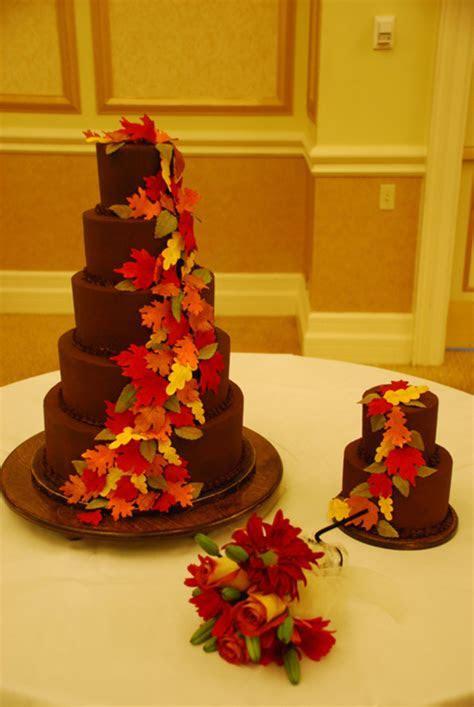 Ganache 5 Tier Fall Leaves Wedding Cake   CakeCentral.com