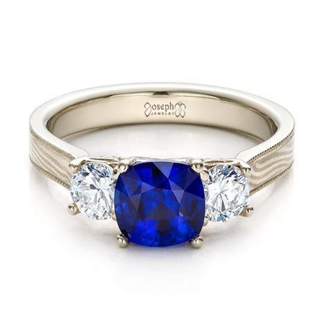 Women's Blue Sapphire, Diamond and Mokume Engagement Ring