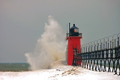 waves pound the South Haven Lighthouse