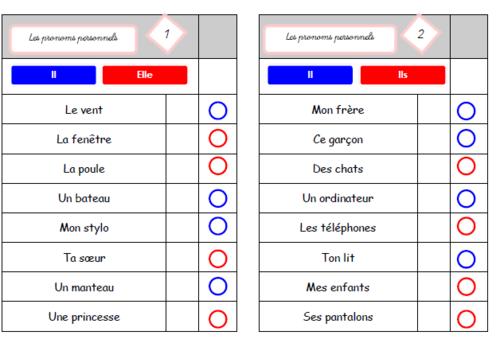 Cartes multichoix : les pronoms personnels sujets