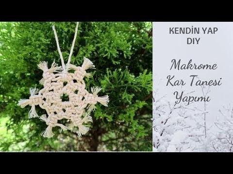MAKROME KAR TANELERİ NASIL YAPILIR? | How to Make Macrame Snowflake?