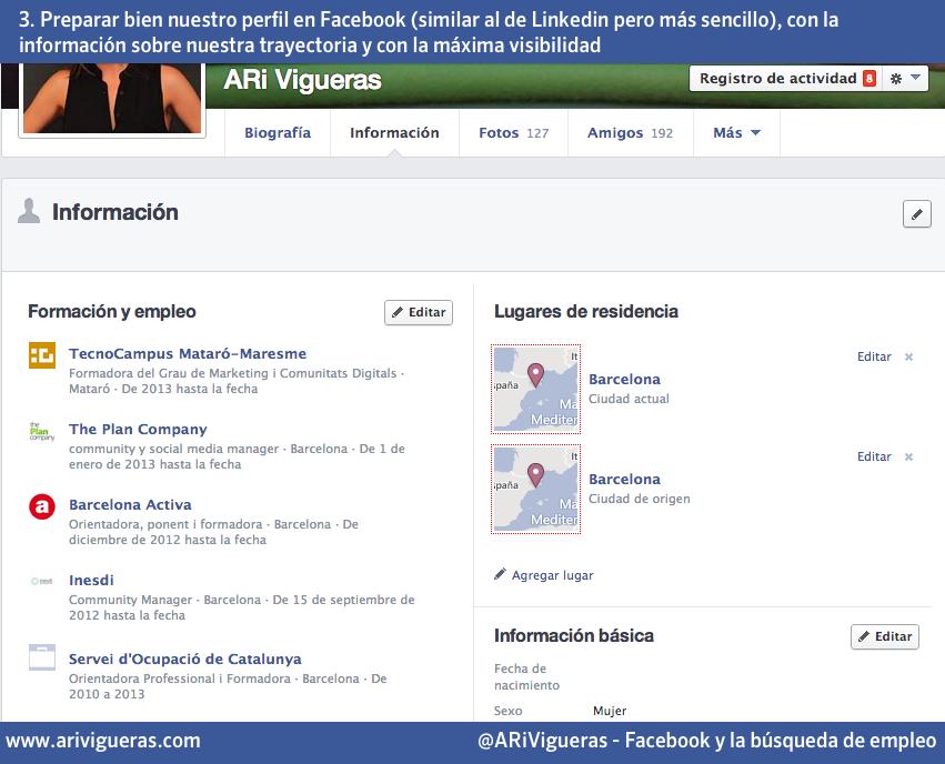 Utilizar Facebook para buscar empleo: perfil profesional. Un post de @ARiVigueras