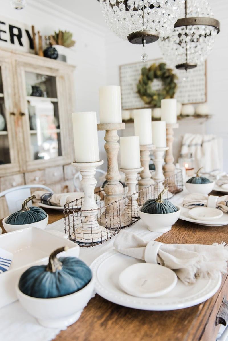 Simple & Neutral Fall Farmhouse Dining Room