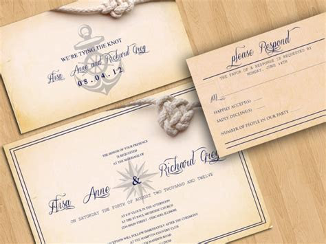 NAUTICAL WEDDING INVITATION Beach Destination wedding