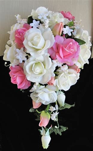 Natural Touch Pink & Off White Rosess Cascading Bouquet