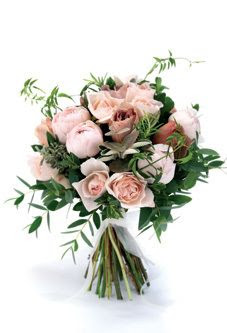 Hand-tied bouquet of 'Julia Baby', 'English Miss' and 'Peony Pink' roses, rosemary, mint, eucalyptus, jasmine, thyme and cotton lavender by The Real Flower Company