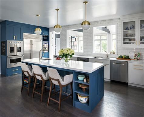blue kitchen ideas cabinets walls  counters