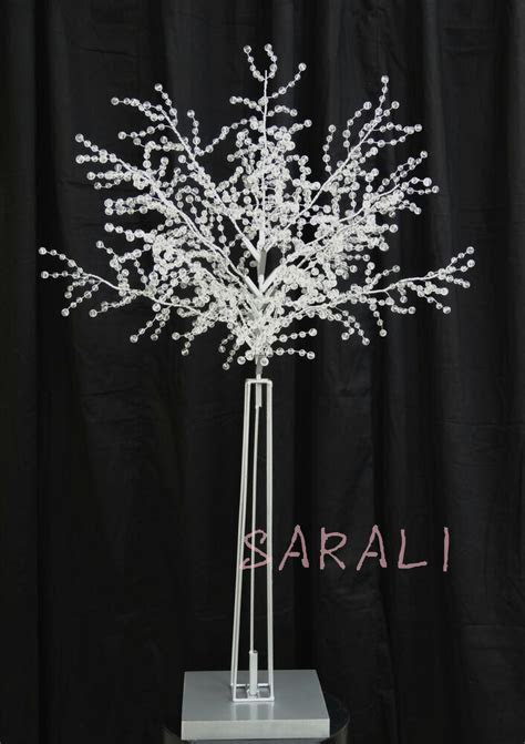 Crystal Acrylic Beaded Tree Branches with Silver Trunk