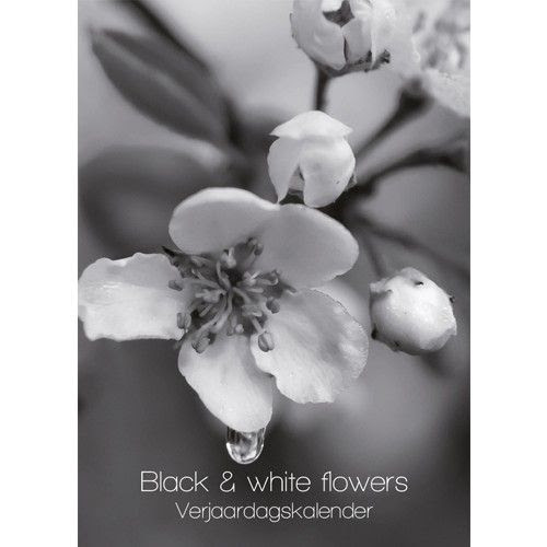 Black White Flowers Verjaardagskalender
