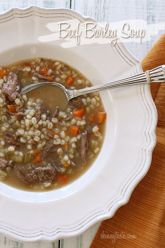 This recipe is very similar to the amazing beef barley soup my mom, Josette, makes.  With a piece of crunchy bread - Yum!  Beef Barley Soup | Skinnytaste --Getting ready for fall...Nothing like a good soup made with Roseda Beef - - YUM