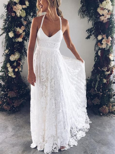 Boho Wedding Dresses,Lace Wedding Dress,Backless Bridal
