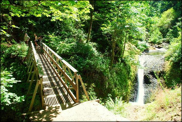 Bridge over upper Oneonta Gorge en route to Triple Falls