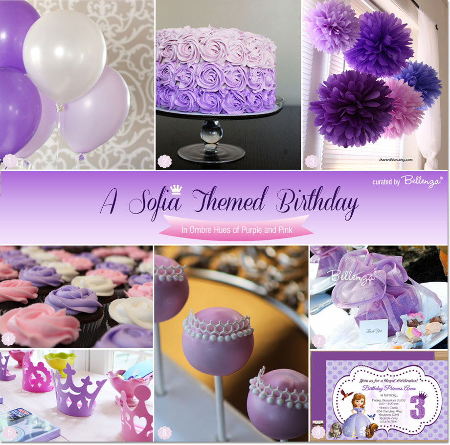 Sofia Themed Birthday Party Ideas In Ombre Hues Of Purple And Pink