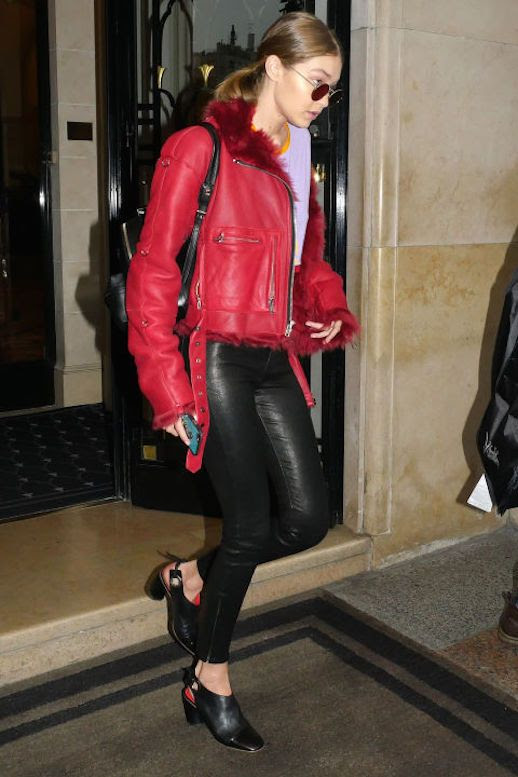 Le Fashion Blog Gigi Hadid Red Leather Jacket Purple Tee Leather Leggings Black Mule Heels Via Harpers Bazaar