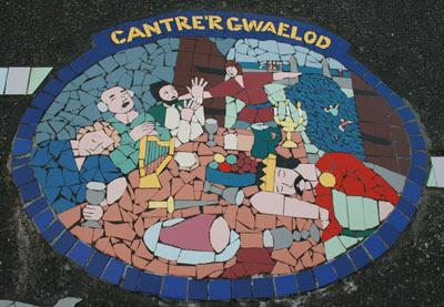 Mosaic by Pod Clare of the Cantre'r Gwaelod myth in Borth, Ceredigion, Wales