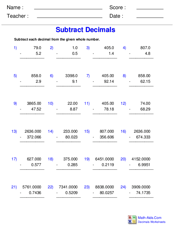 Multiplying Decimals By Decimals Worksheet - Promotiontablecovers