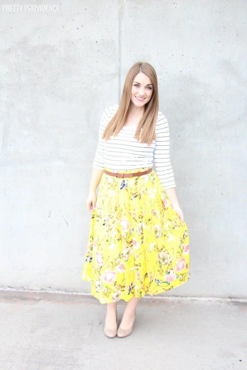 springy floral skirt  pretty providence